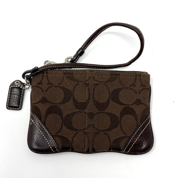 Coach Wristlet Wallet Canvas Leather Brown Small
